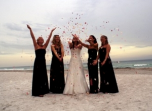 Longboat Key beach wedding at sunset Travis and Crystal